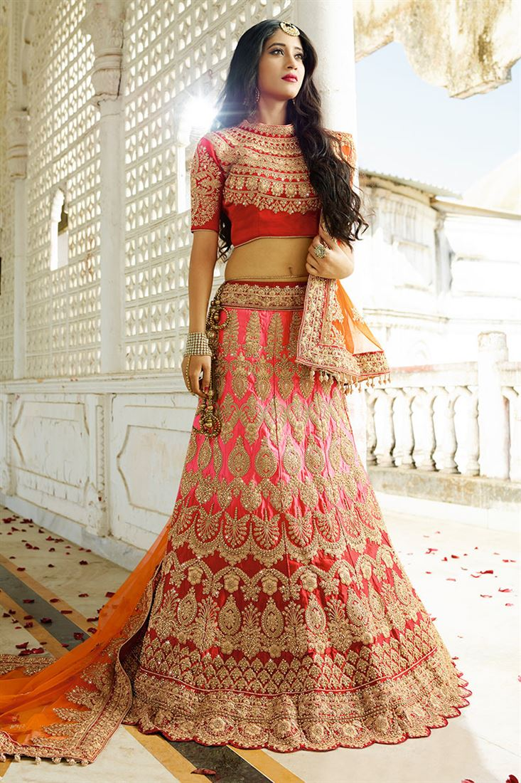 d5ce9ca4a9 Red-Pink Color Satin Heavy Embroidery Work Bridal Lehenga Choli