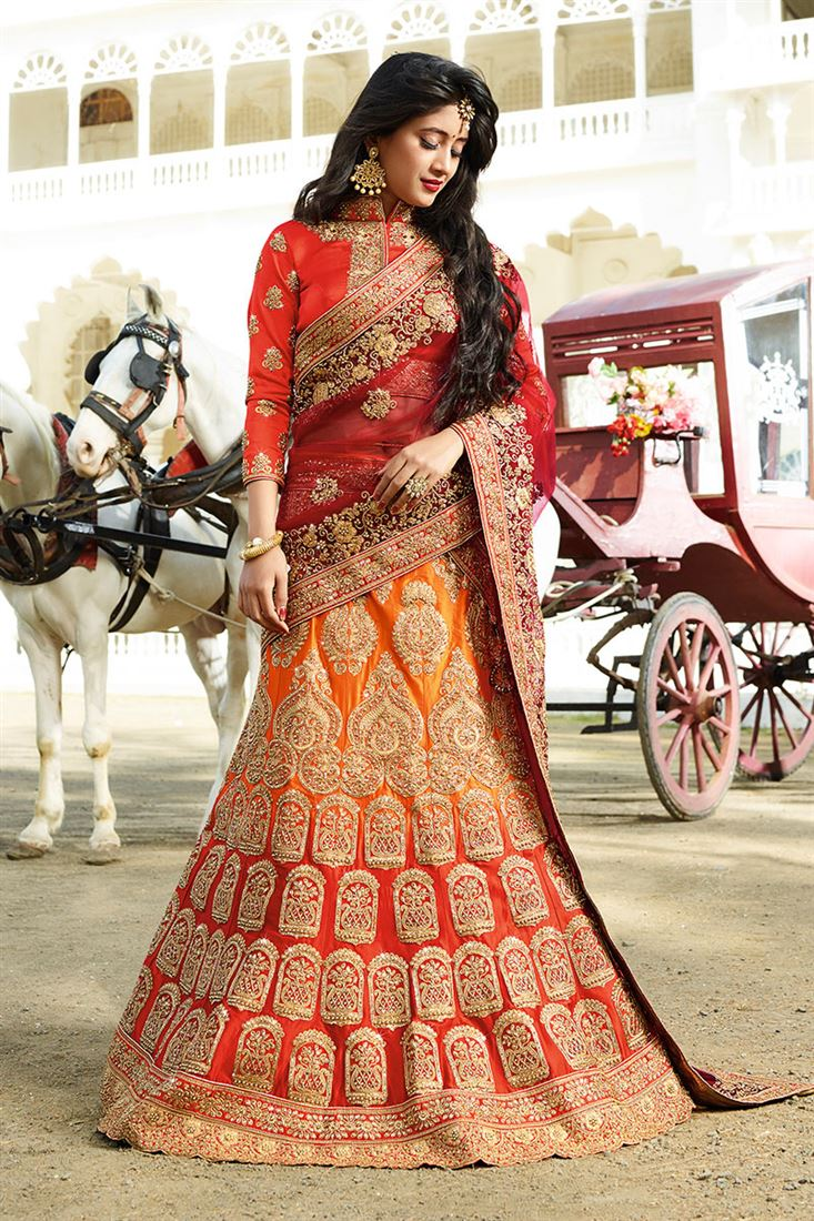 Orange-Red Color Satin Heavy Embroidery Work Bridal Lehenga Choli