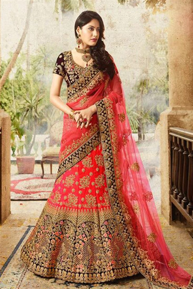 152f7ceb9a Royale Attractive Red And Blue Velvet And Silk Bridal Lehenga Choli