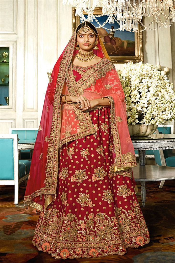 c85e89f404 Royal Attractive Red Color Satin Fabric Bridal Lehenga Choli With ...