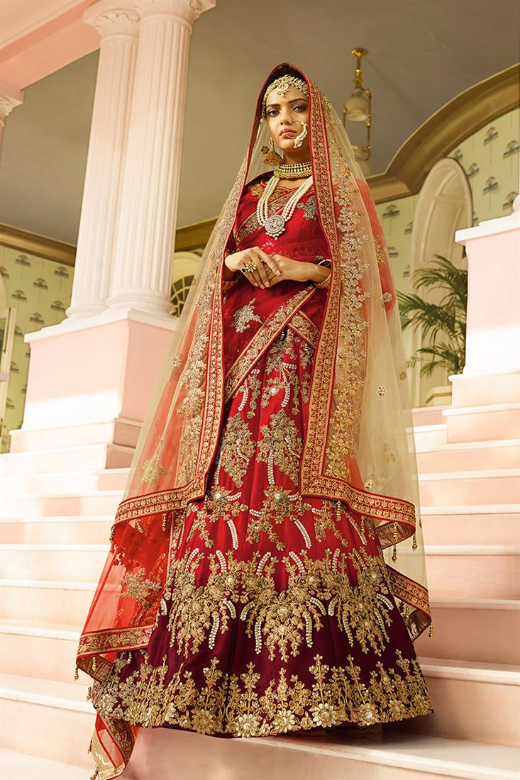 98e97f4f4c Royal Bewitching Red & Maroon Color Satin Fabric Bridal Lehenga ...