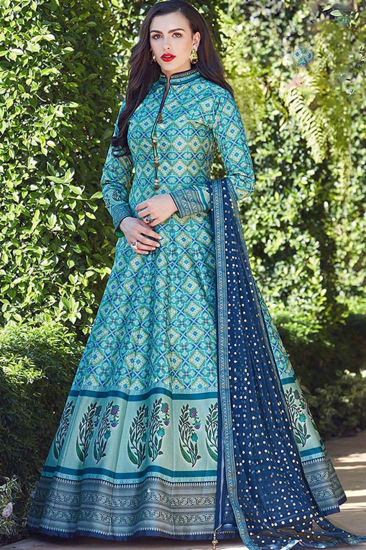 Virasat Firozi Colour Heavy Soft Silk Fabric Designer Party Wear Gown With Soft Net Table Print Dupatta