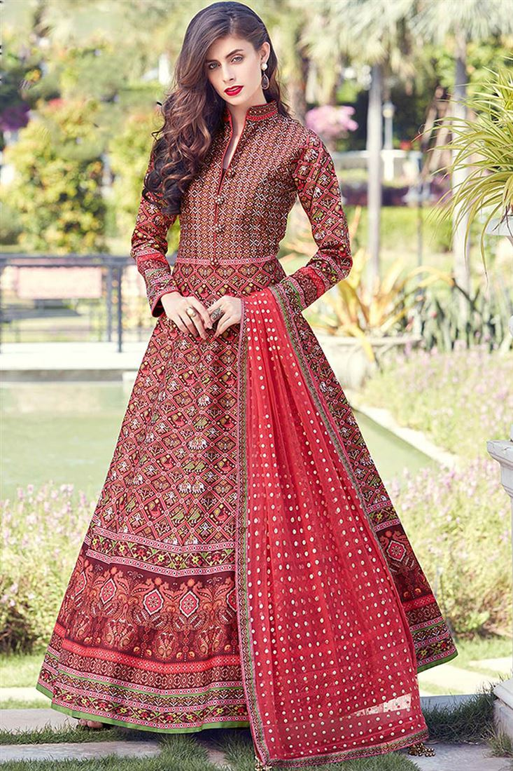 Virasat Red Colour Heavy Soft Silk Fabric  Designer Party Wear Gown With Soft Net Table Print Dupatta