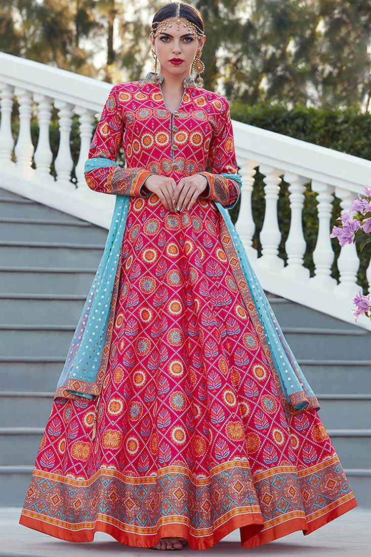 Virasat Gajri Colour Heavy Soft Silk Fabric  Designer Party Wear Gown With Soft Net Table Print Dupatta