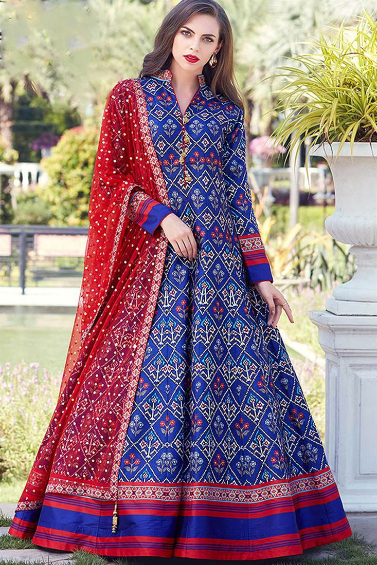 Virasat Royal Blue Colour Heavy Soft Silk Fabric  Designer Party Wear Gown With Soft Net Table Print Dupatta