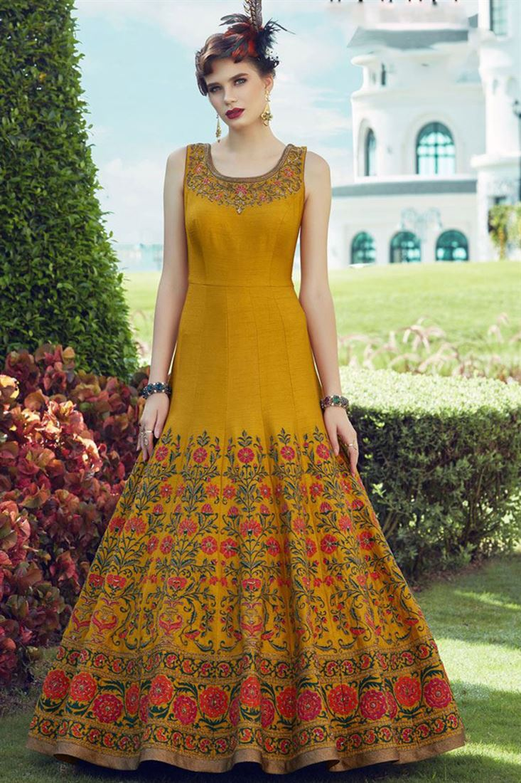 Virasat Golden Yellow Colour Heavy Soft Banglori Silk Fabric Designer Party Wear Gown With Handwork