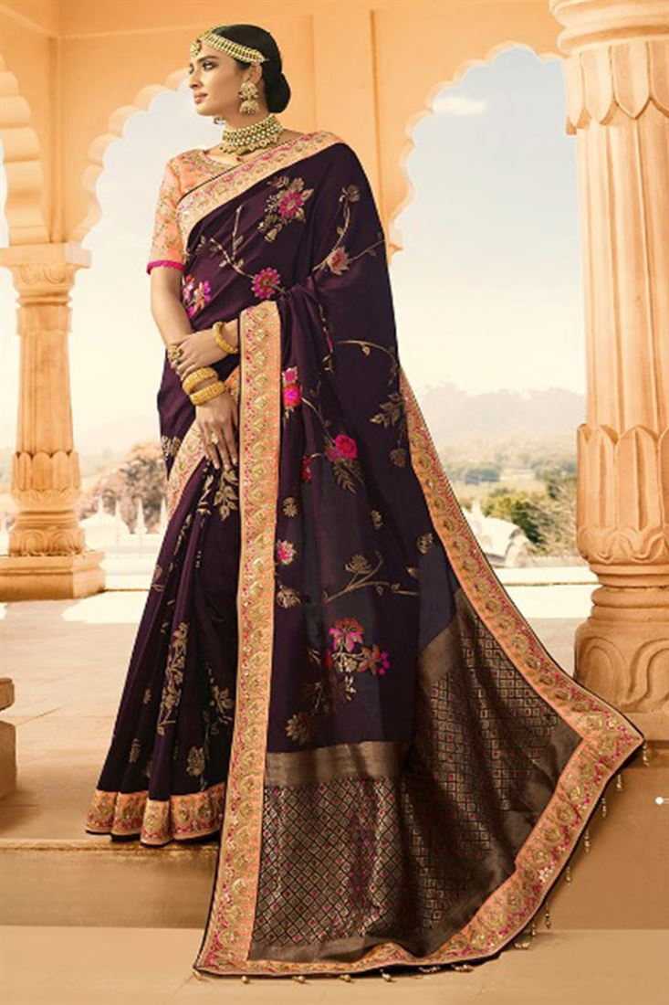 Royal Virasat Silk Fabric Vine Color Saree With Embroidered Blouse For Wedding