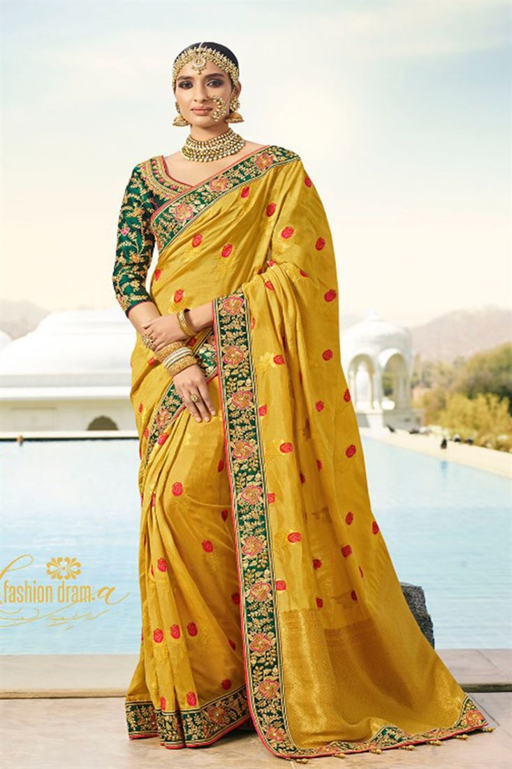 Royal Virasat Silk Fabric Yellow Color Saree With Designer Embroidered Blouse