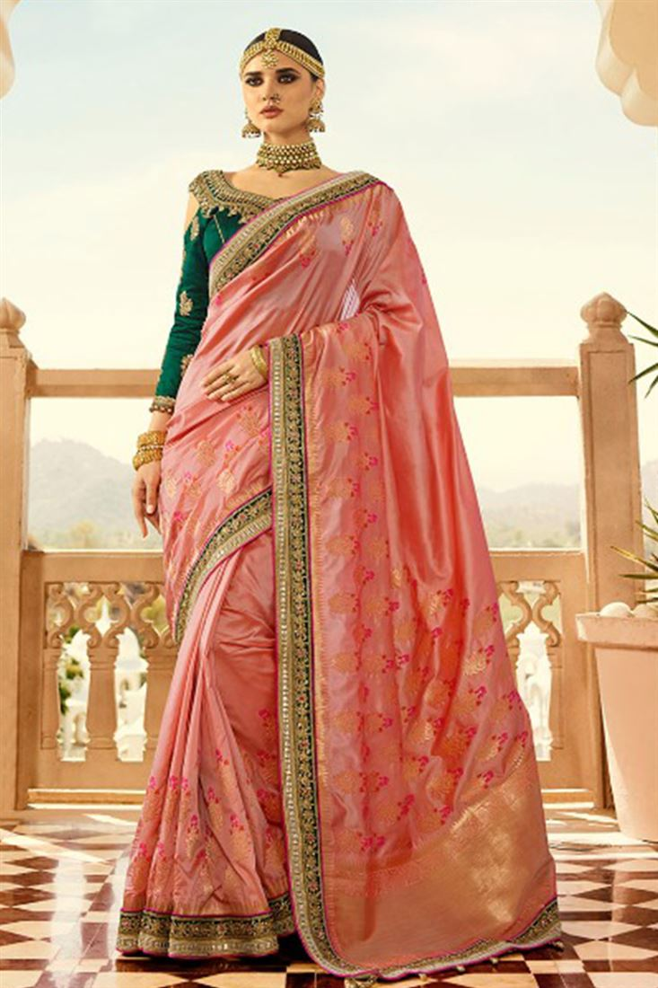 Royal Virasat Silk Fabric Salmon Color Saree With Designer Embroidered Blouse