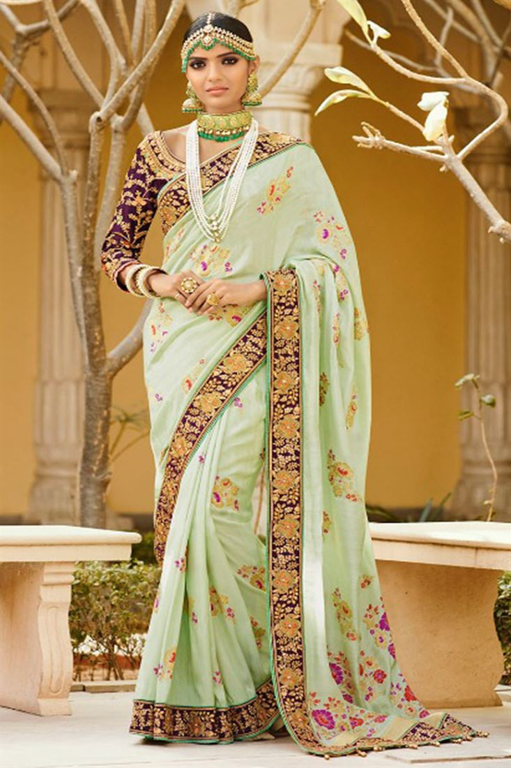 Royal Virasat Silk Fabric Light Green Color Saree With Designer Embroidered Blouse