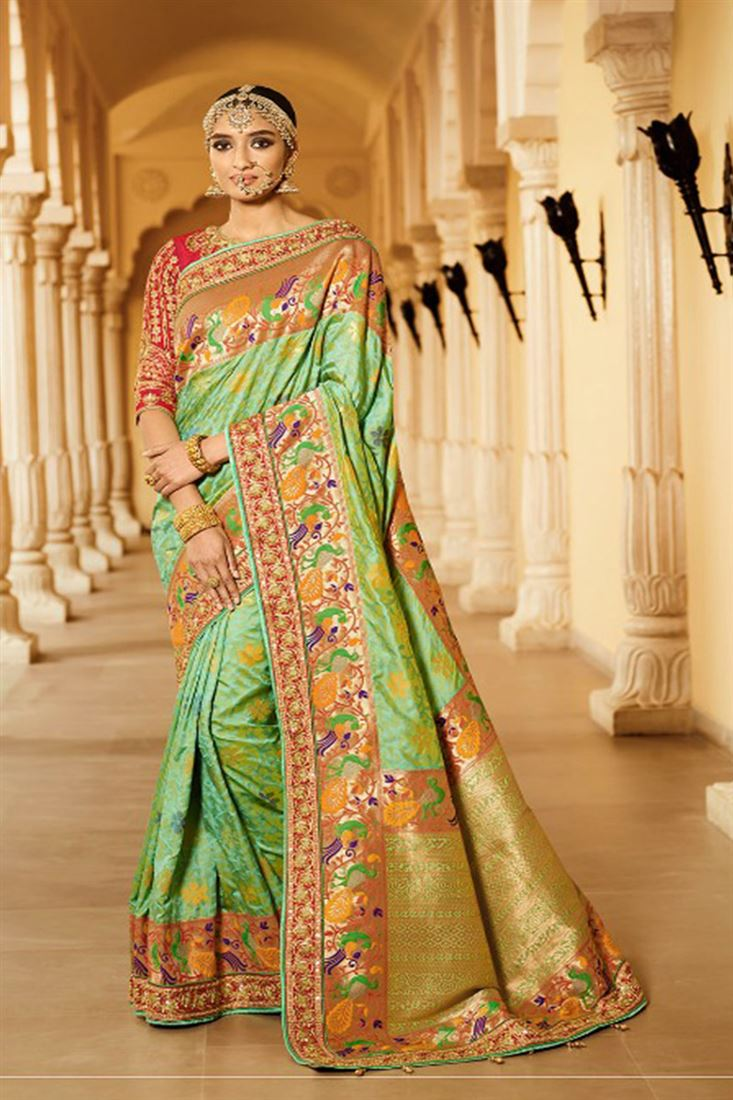 Royal Virasat Silk Fabric Green Color Saree With Designer Embroidered Blouse