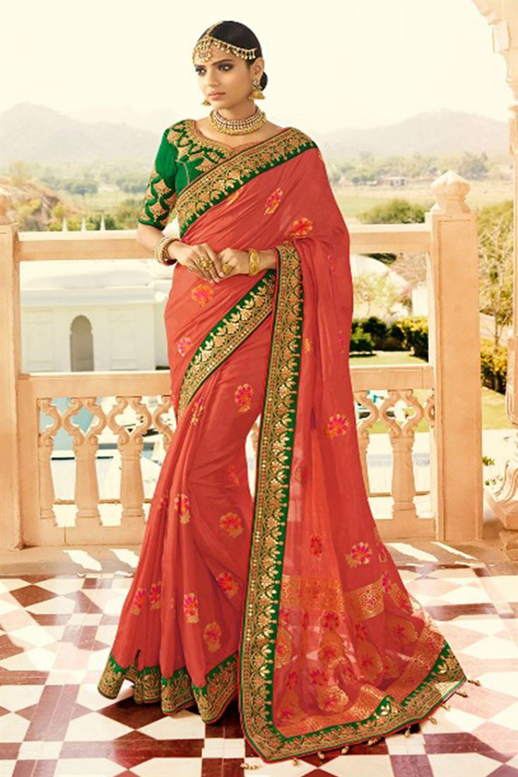 Royal Virasat Silk Fabric Crimson Color Saree With Designer Embroidered Blouse