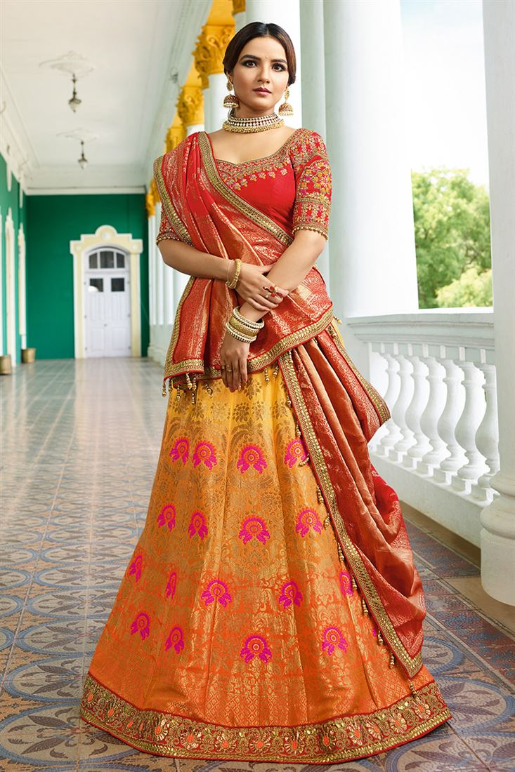 bcdb7fa9a2 Virasat Irresistible Yellow & Salmon Color Pure Silk & Jacquard Fabric ...