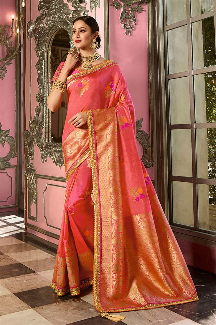 b6b9158d718362 Salmon Colour Indian Silk Wedding Wear Saree With Embroidered ...