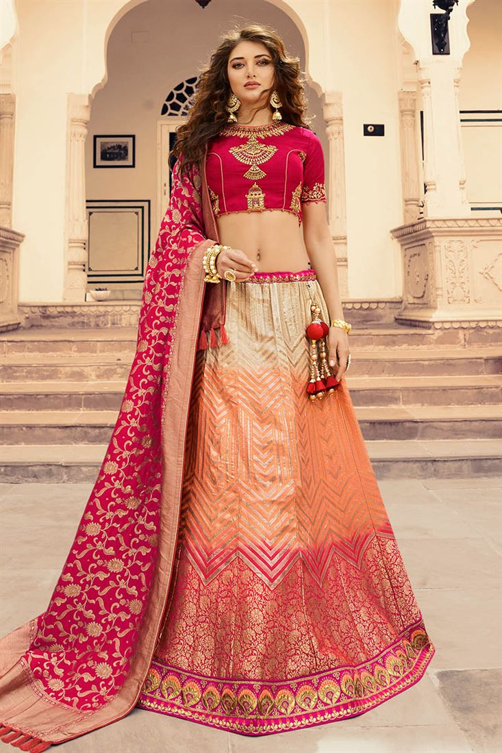 18ca8fc764 Virasat Cream & Light Salmon Pure Silk Jacquard Wedding Wear ...