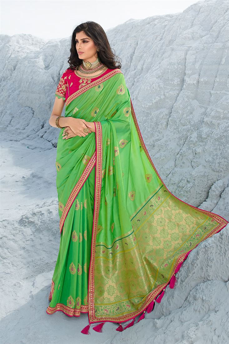 Lovable Green Colour Heavy Silk Designer Wedding Wear Saree With Designer Embroidered Blouse