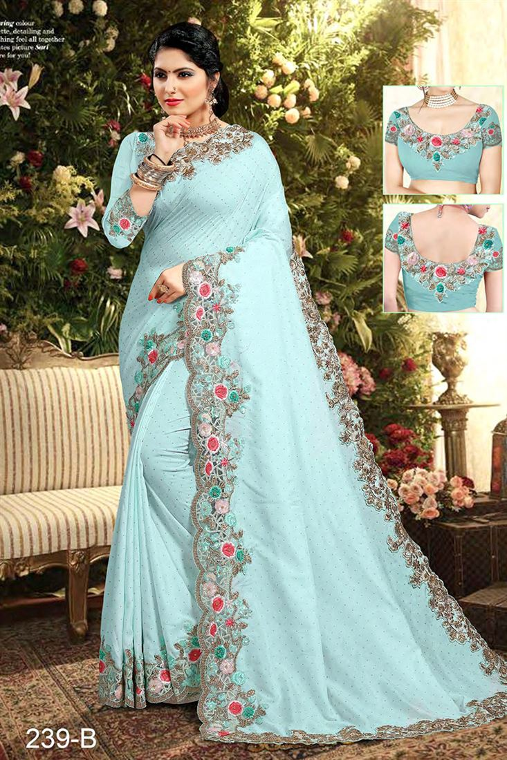 Light Blue Colour Crepe Silk Designer Party Wear Saree