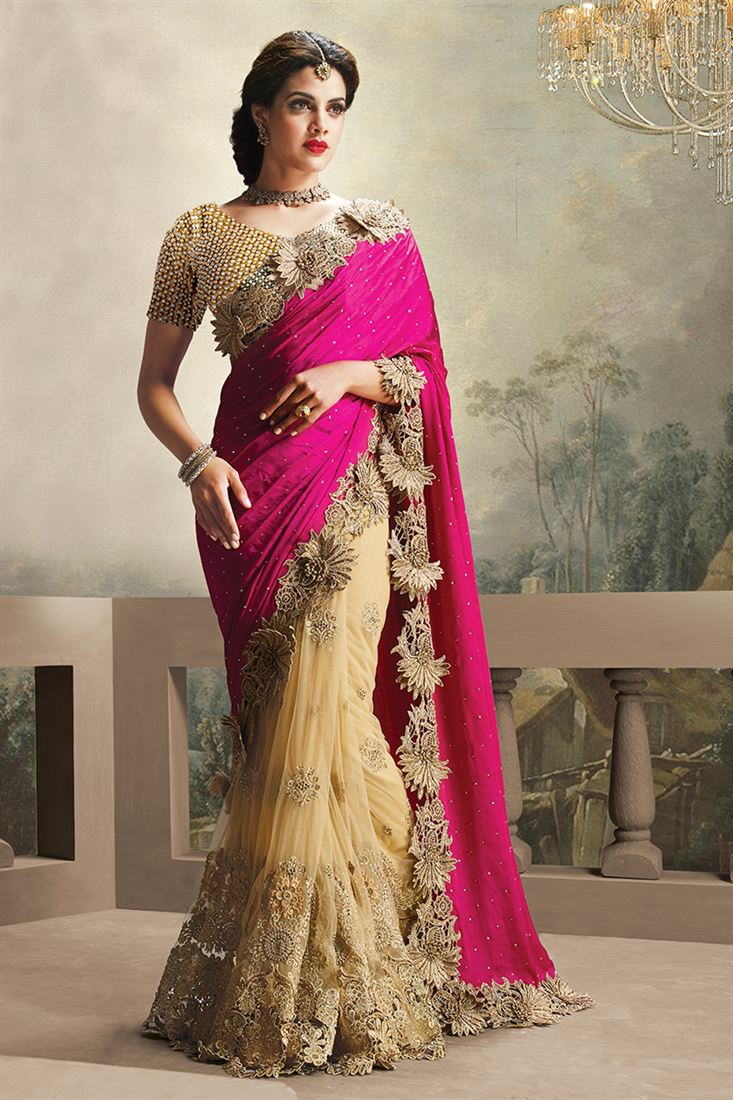 Pink-Beige Pure Satin with Net Skirt Heavy Diamond Work Wedding Saree