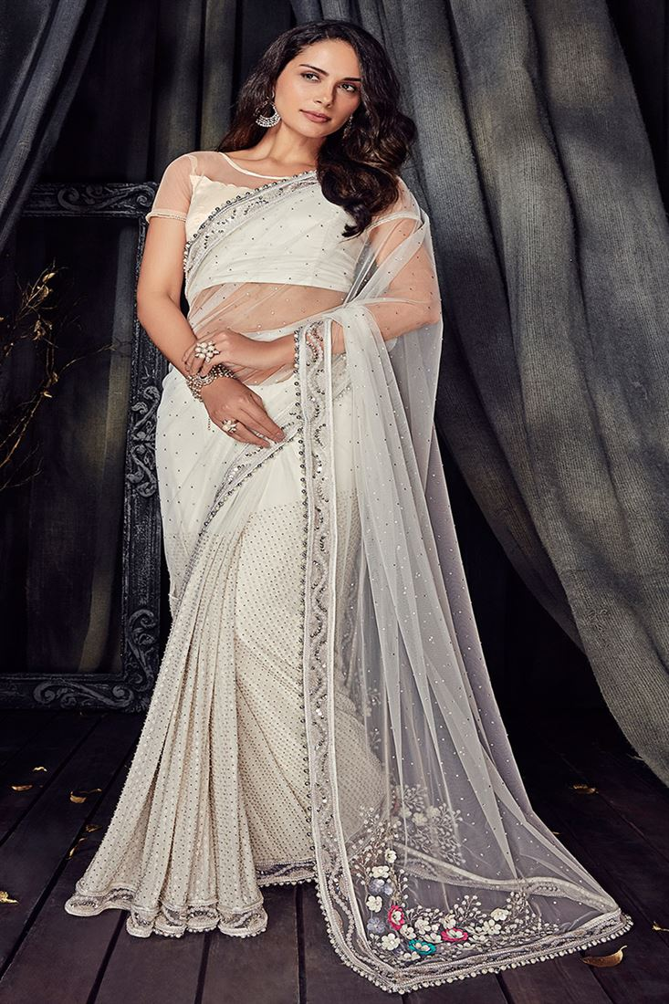 Crystal Off White Colour Pure Net Fabric Designer Party Wear Saree