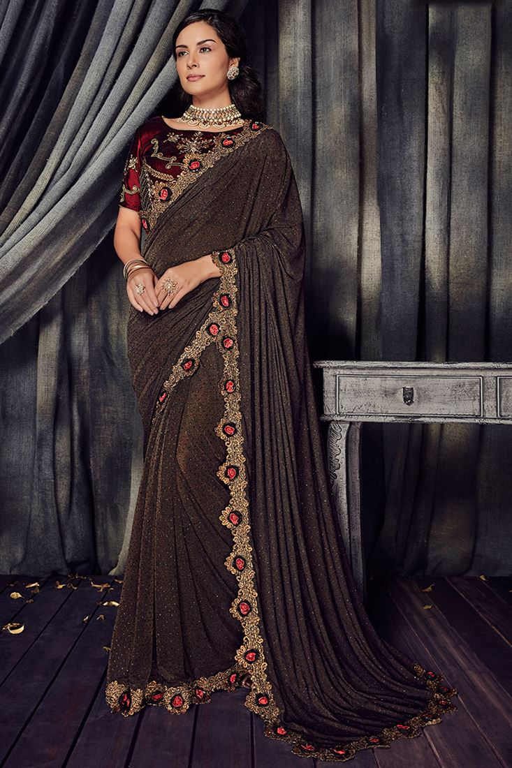 Crystal Chocolate Brown Colour Imported Fabric Designer Saree With Velvet Blouse