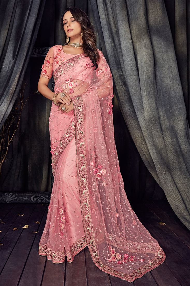 529426e2cf Crystal Pink Colour Pure Net Designer Wedding Wear Saree With Net ...