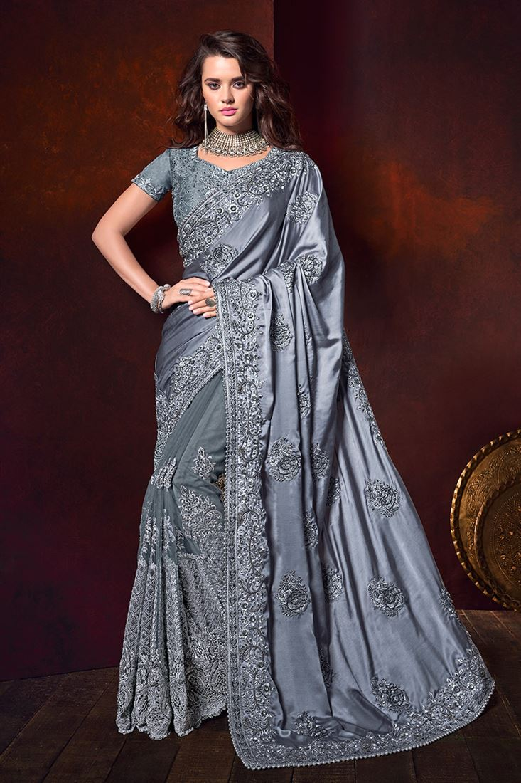 Grey Colour Pure Satin Designer Wedding Wear Saree With Heavy Blouse