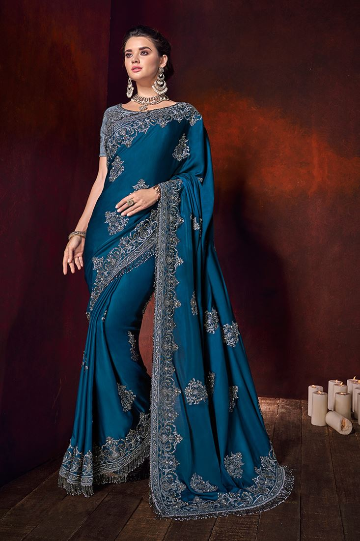 Blue Colour Pure Satin Designer Wedding Wear Saree With Heavy Blouse