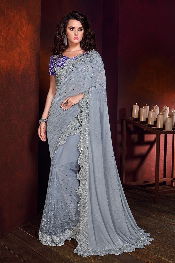 Light Grey Colour Korean Fabric Designer Wedding Wear Saree
