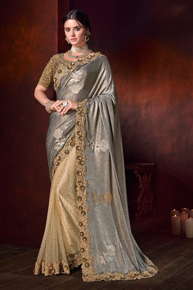 Chiku Colour Imported Pallu & Digital Net Skirt Designer Saree With Blouse