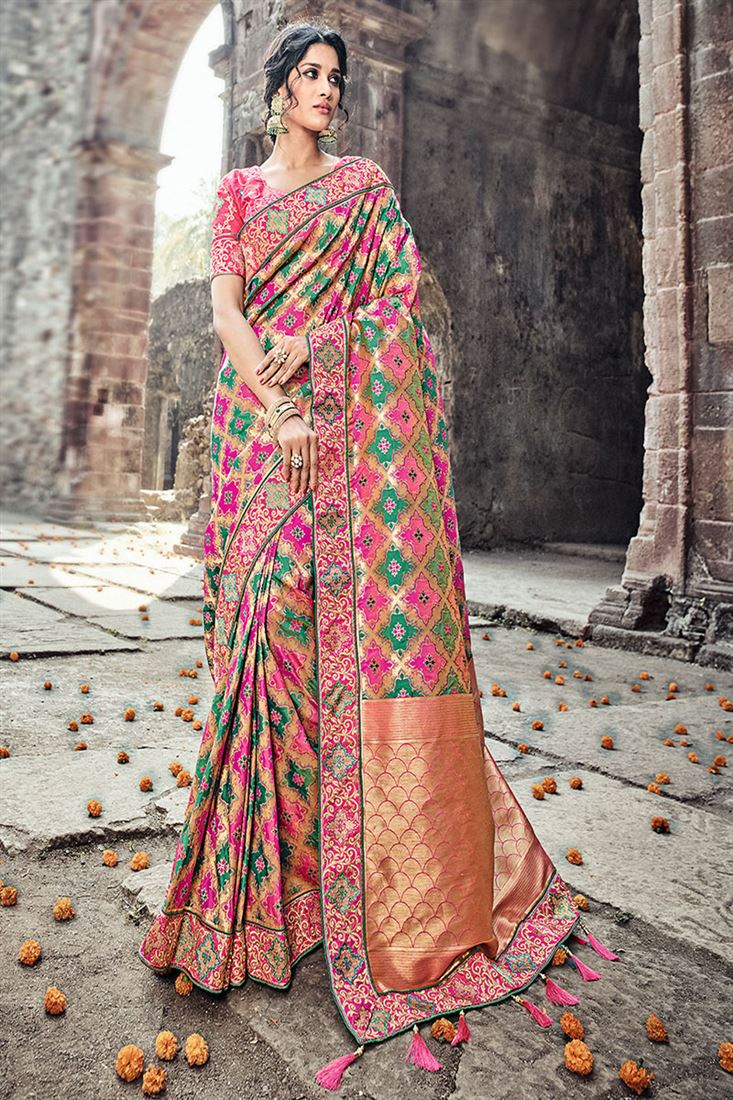 3cff1a6514849 Elite Light Salmon Banaras Pure Silk Saree With Two Blouse One ...
