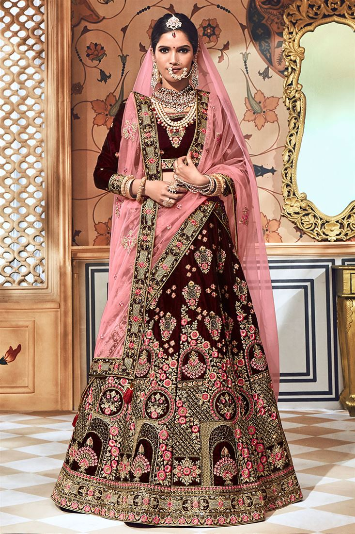 0bae6dd17e Amazing Wine Colour Pure Velvet Fabric Bridal Lehenga Choli
