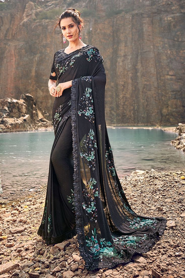 Black Colour Korean Fabric Wedding Wear Saree With Heavy Blouse