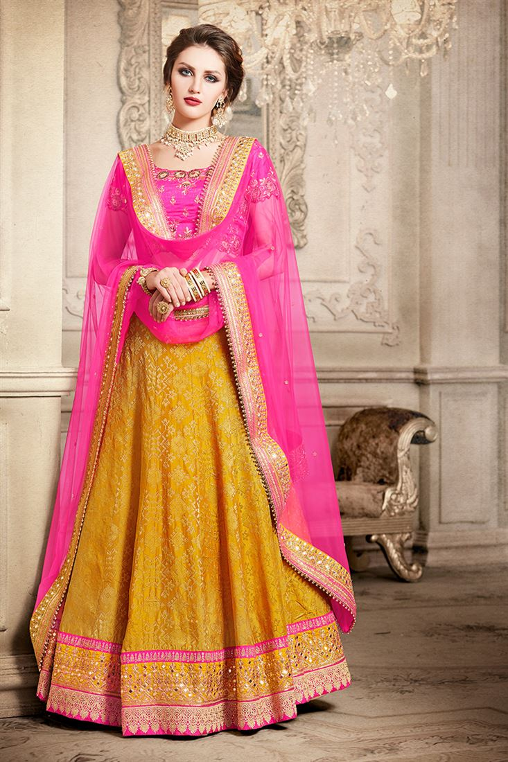 e11b6bca6 Element Brocade Fabric Fuchsia Mustard Color Lehenga