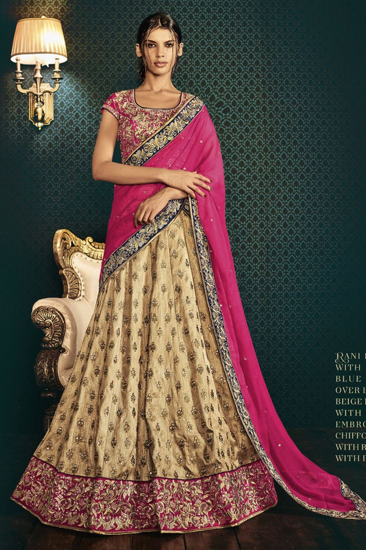 d87c723d17 Pure Raw Silk Heavy Embroidery Bridal Lehenga Saree In Beige Color
