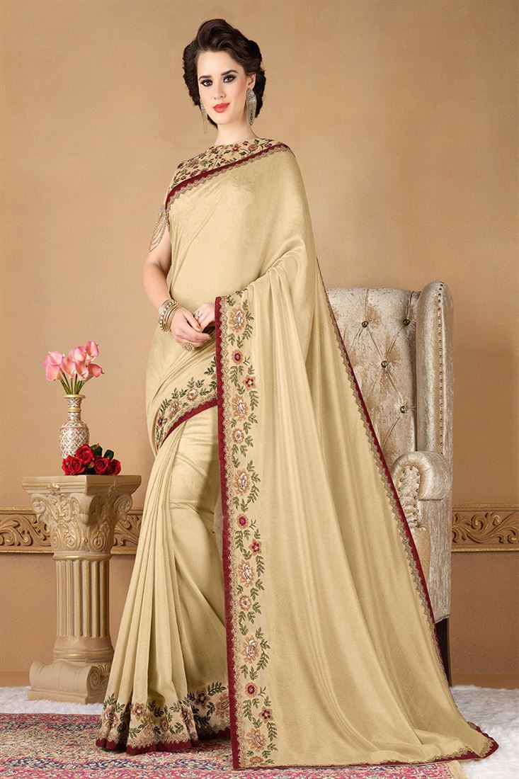 Style Saga Ethernal Cream Designer Saree With Embroidered Blouse