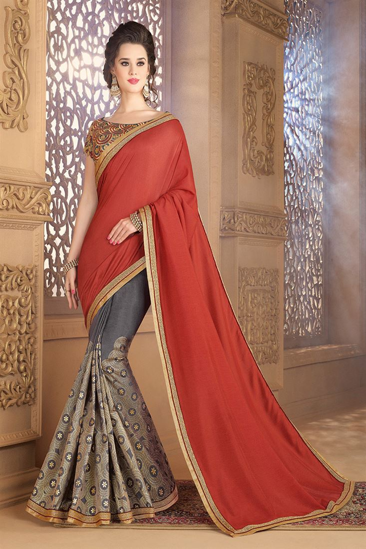 Style Saga Attractive Grey Soft Silk Party Wear Saree With Dhupion Blouse