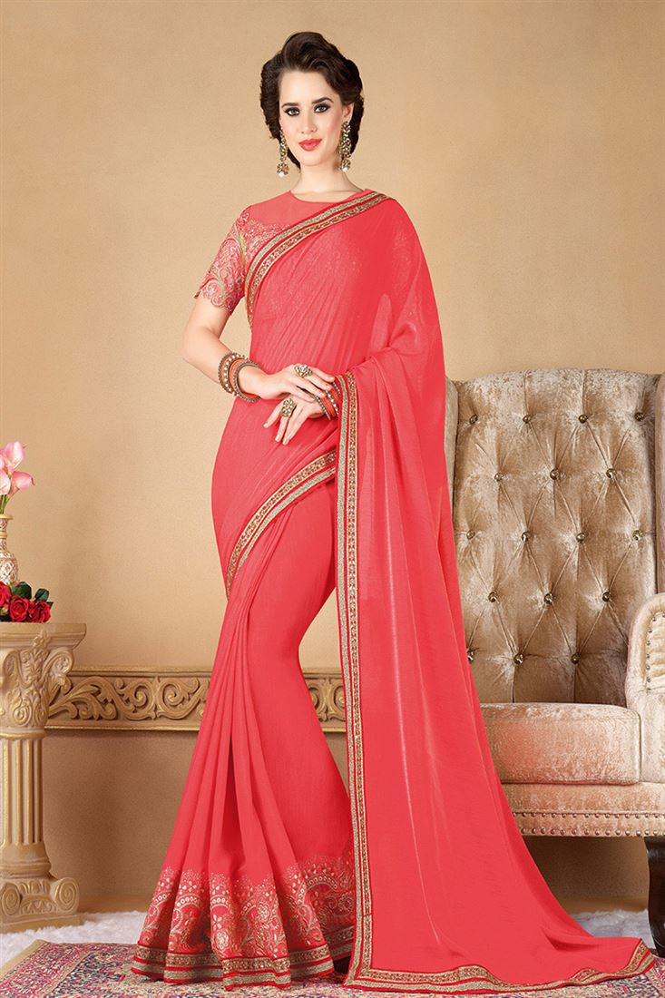 Style Saga Baby Doll Pink Party Wear Saree With Net Blouse