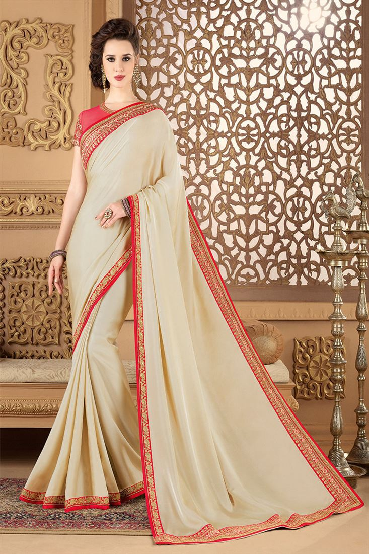 Style Saga Heavenly Cream Colour Designer Saree With Heavy Embroidered Blouse