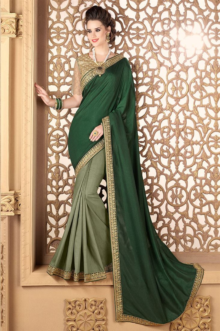 Style Saga Celestial Green Soft Silk Half-Half Saree With Dhupion Blouse