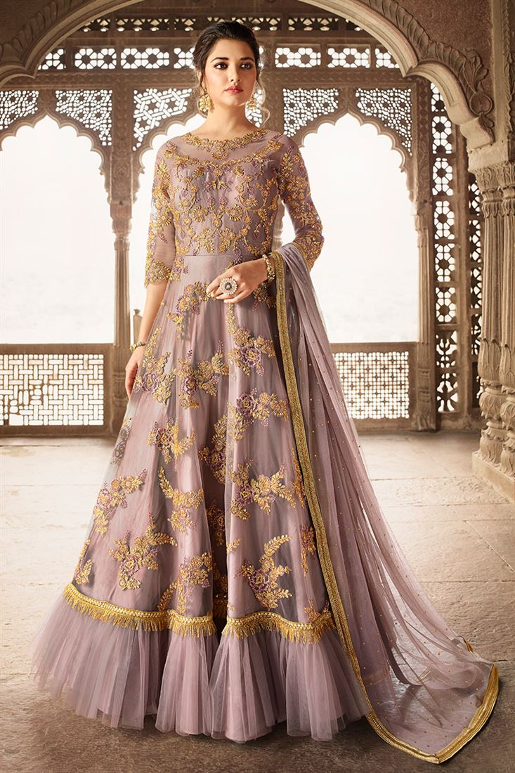 198495654f2 Gorgeous Dusty Mauve Colour Round Net Designer Embroidered Party Wear Gown  Style Suit