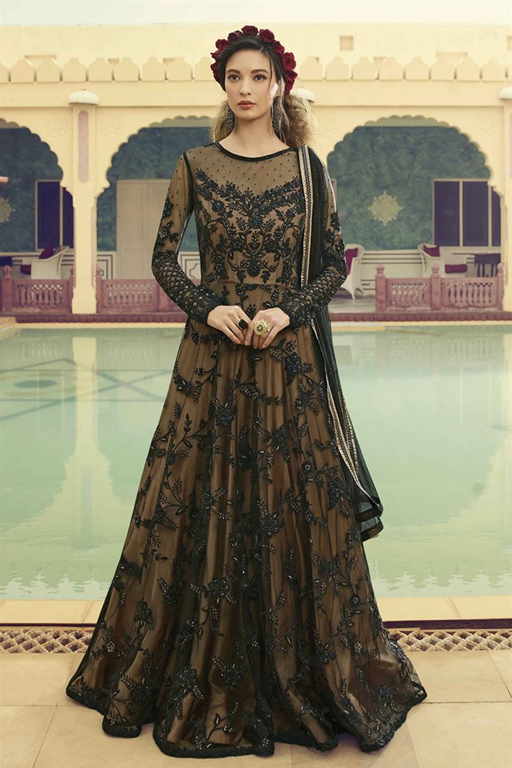 Fabulous Black Colour Net With Beige Sattin Inner Designer Party Wear Gown With Soft Net Dupatta