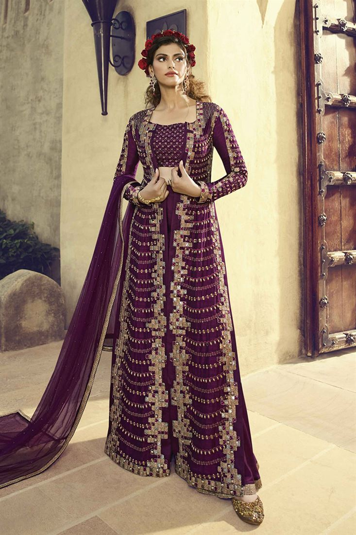 Radiant Wine Heavy Embroidered Long Jacket In Silk With Sattin Sharara And Soft Net Dupatta