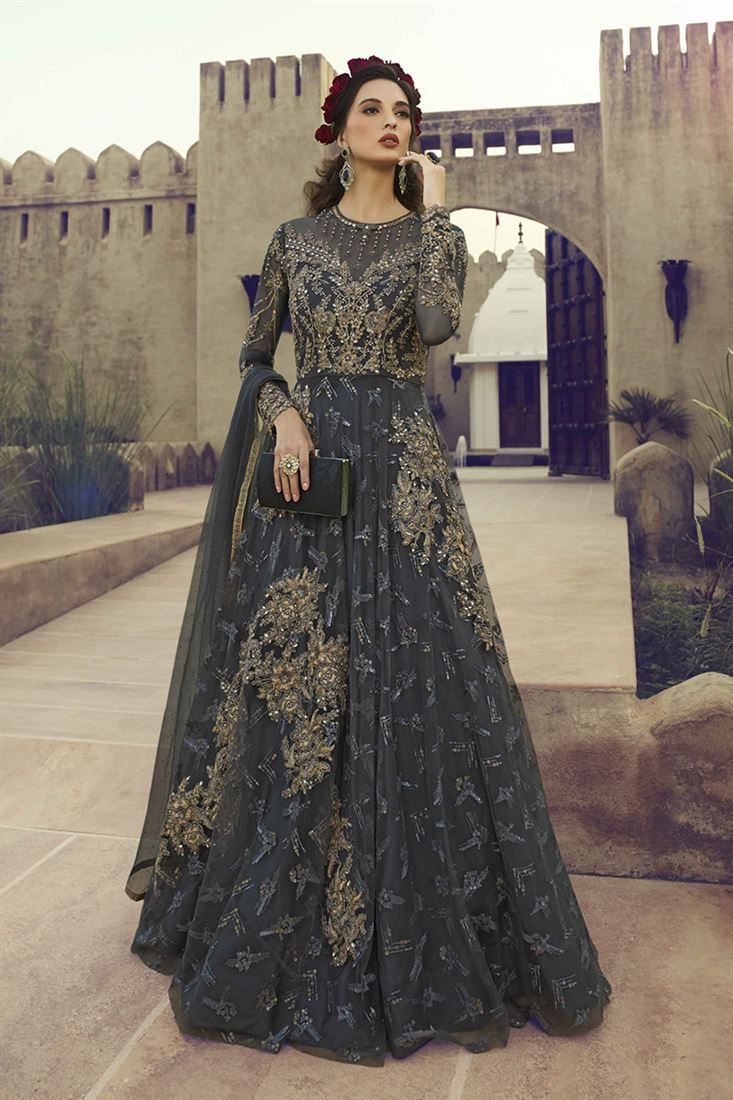 Charcoal Grey Butterfly Net Designer Party Wear Gown With Soft Net Dupatta