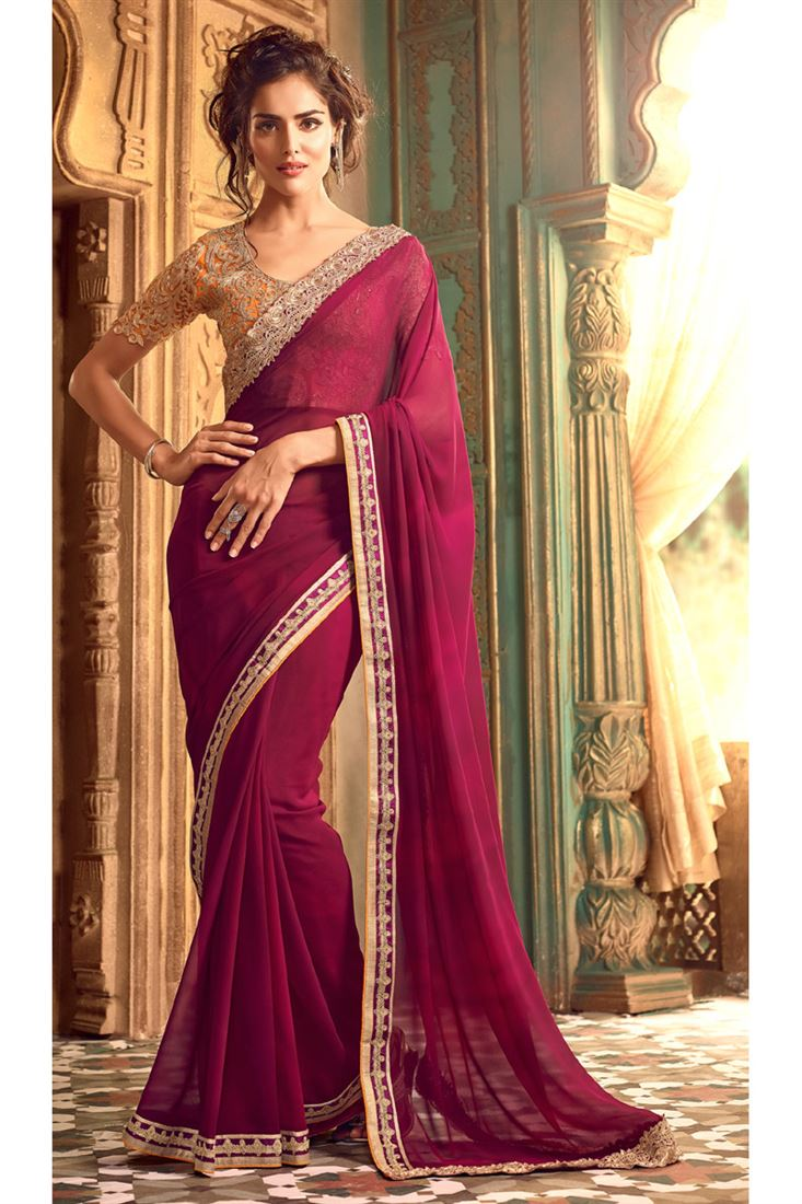 839a814c378b2 Fancy Wedding Bridal Mate Saree in Georgette Fabric with Designer ...