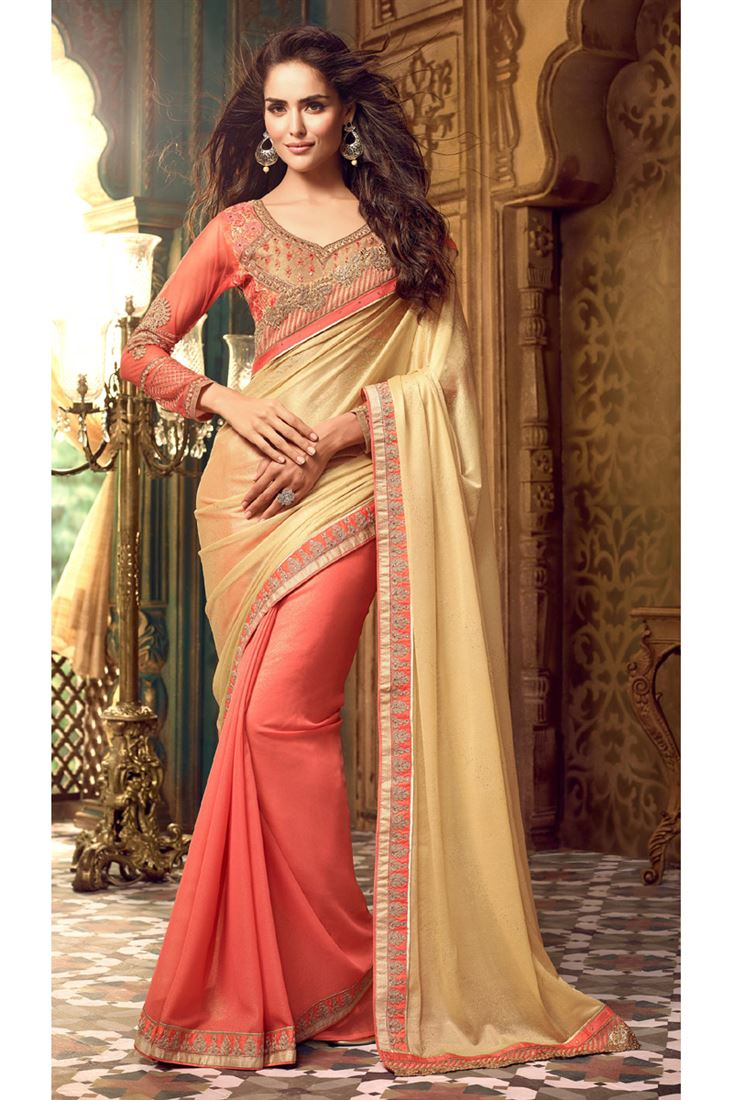 Beige Peach Color Fancy Wedding Saree In Silk Georgette Fabric With Designer Blouse