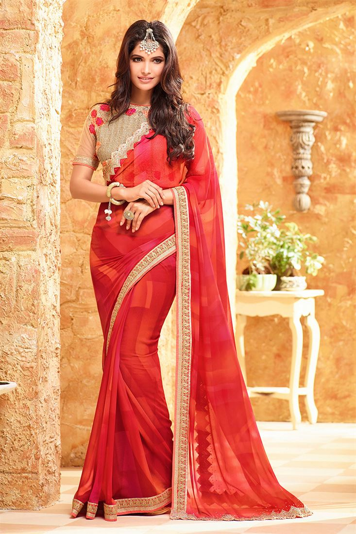Fossil Georgette Fabric Party Wear Saree in Red Color with Heavy Designer Blouse