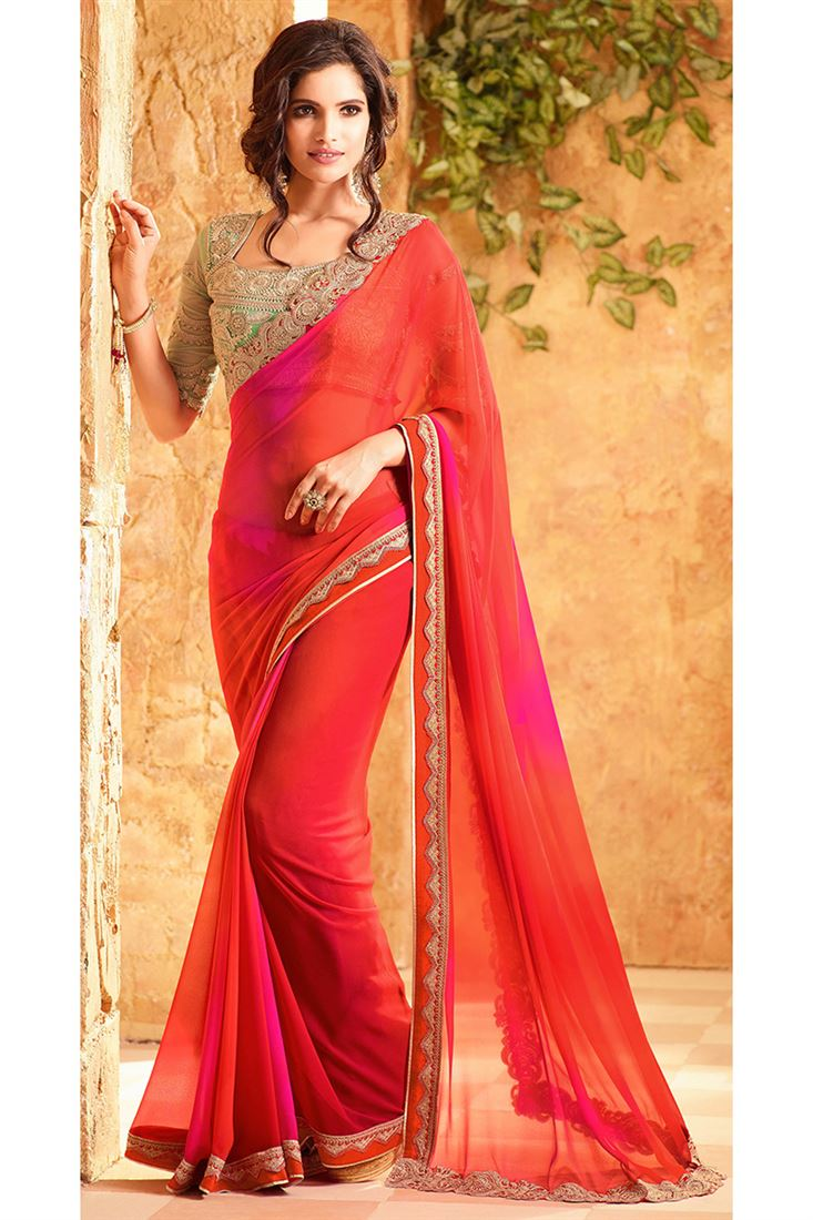 380bb7b4325b3 Fossil Georgette Fabric Bride Mate Saree in Red Color with Heavy ...