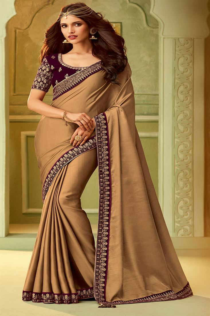 Chikoo Colour Kiara Silk Saree With Fancy Embroidered Blouse