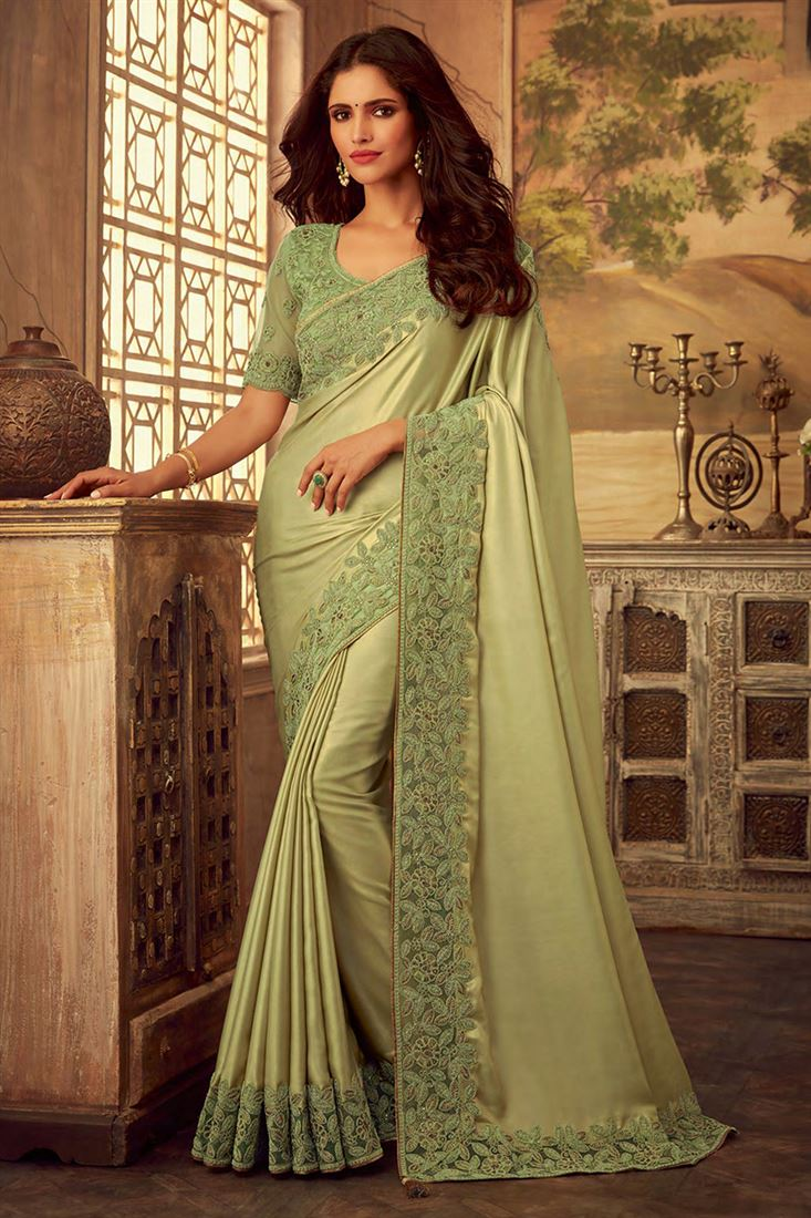 Light Green Colour Silk Designer Party Wear Saree With Fancy Embroidered Blouse