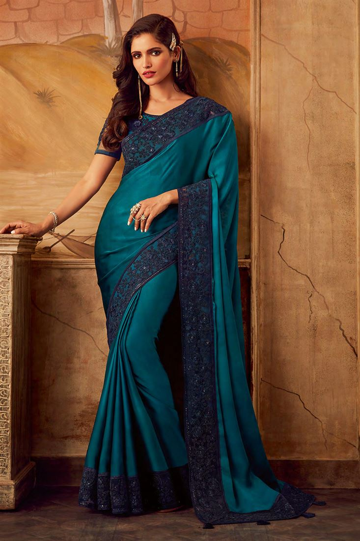 Deep Rama Colour Silk Designer Party Wear Saree With Fancy Embroidered Blouse